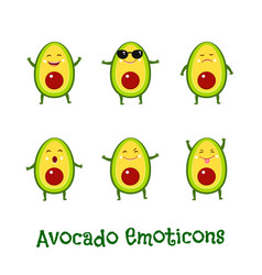 Avocado smiles cute cartoon emoticons emoji icons vector