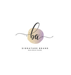b a initial letter handwriting and signature logo vector image
