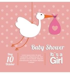 Baby Shower design stork icon pink vector image
