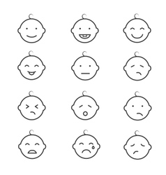 Baby smile face emoticons icons vector