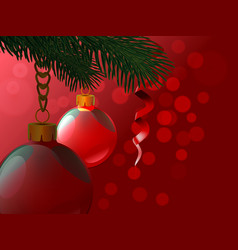 background from christmas balls hanging a branch vector image