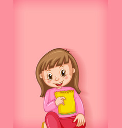 Background template design with happy girl eating vector
