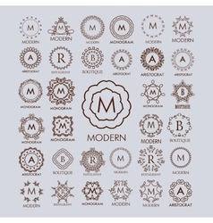 Big bunch of luxury simple and elegant monogram vector