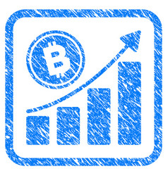 bitcoin growth trend framed stamp vector image