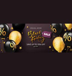 black friday sale poster with beautiful balloons vector image