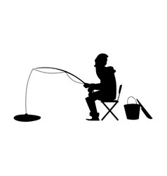 black silhouette a man on winter fishing vector image