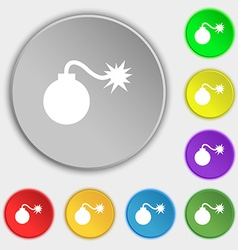 Bomb icon sign symbol on eight flat buttons vector