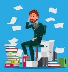 businessman doing paperwork office worker vector image