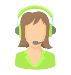 Call center operator with phone headset icon vector