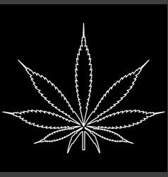 Cannabis marijuana leaf white color path icon vector