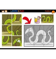Cartoon snake puzzle game vector image