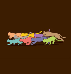 Cats nine lives running graphic vector