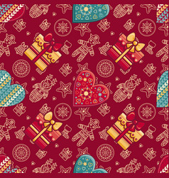 christmas gift box and patterned heart vector image