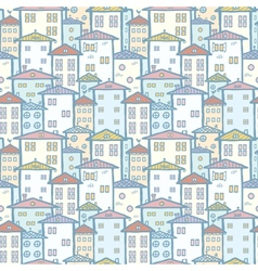 City houses seamless pattern background vector image