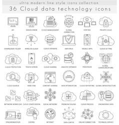 Cloud data technology ultra modern outline vector