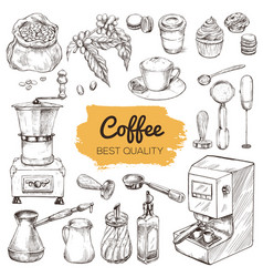 coffee set hand drawn elements vector image