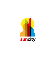 colorful overlap city logo sign symbol icon vector image