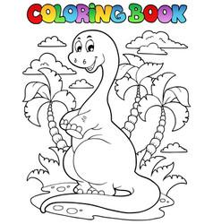 Coloring book dinosaur scene 2 vector