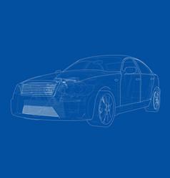 Concept car rendering 3d vector