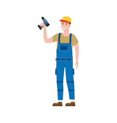 Construction worker with cordless screwdriver tool vector