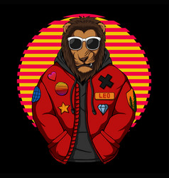 Cool lion wear a jacket vector