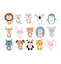 Cute animals a large set simple colorful vector