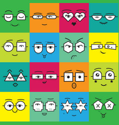 Cute colorful square stickers emoticons faces vector