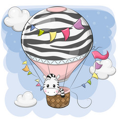 Cute zebra is flying on a hot air balloon vector