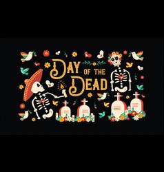 Day dead mexican skull celebration card vector
