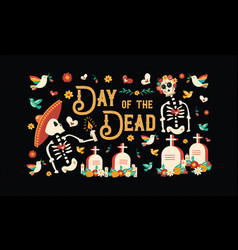 Day of the dead mexican skull celebration card vector