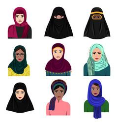 Different muslim arab women vector