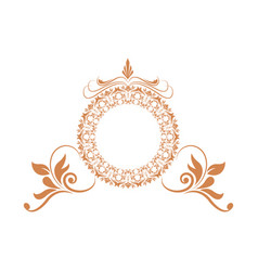 Elegant round decorative frame flourish vector