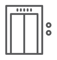 Elevator line icon hotel and level lift sign vector