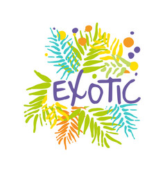 Exotic logo with palm leaves summer vacation vector