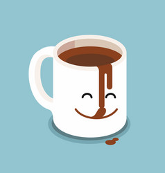 Funny cartoon characters coffee cup vector