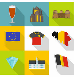 german food icons set flat style vector image