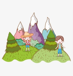 Girl and boy in the mountains with trees vector