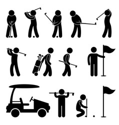 Golf golfer swing caddy caddie pictogram a set of vector