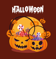Halloween card with pumpkin and candies vector