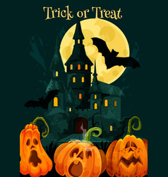 Halloween trick treat pumpkin greeting card vector