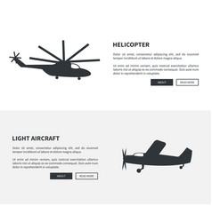 helicopter and light aircraft set of black banners vector image
