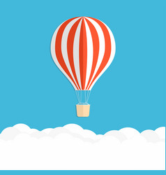 hot air balloon in the sky red striped air vector image