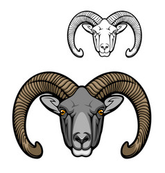 Hunter club mascot icon wild mouflon sheep animal vector
