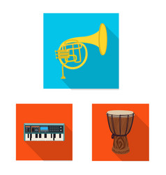 Isolated object music and tune icon set of vector
