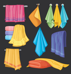 Kitchen and bath hanging and folding towels vector