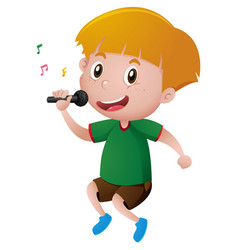 Little boy singing with microphone vector