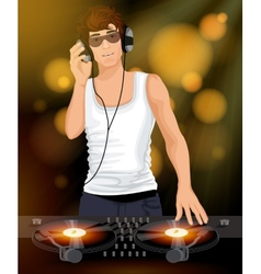 Male DJ with headphones vector