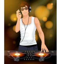 Male dj with headphones vector