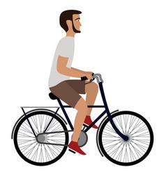 Man riding a bicycle flat vector