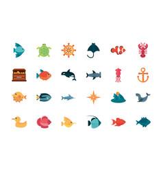 marine life cartoon sea fauna animal set vector image